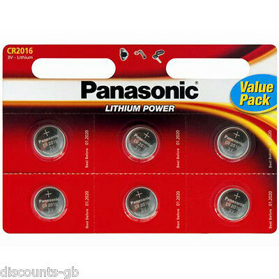 6 x Panasonic CR 2016 3Volt Lithium Coin Batteries 3V, PC, Bell, Remote Battery