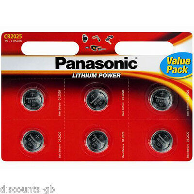 6 x Panasonic CR 2025 3Volt Lithium Coin Batteries 3V, PC, Bell, Remote Battery