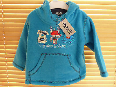 Minoti Space Buddies Baby Boys Fleece Hoody Hooded Jumper 6-12 & 18-24 Months