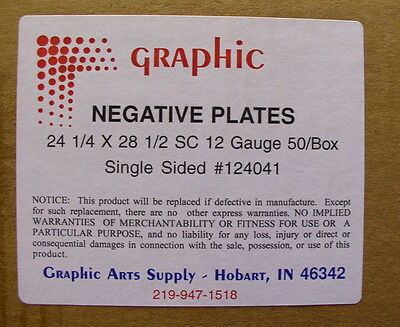GRAPHIC NEGATIVE PLATES 1 SIDED 24 1/4 X 28 1/2 .012 GAUGE SC 50/box