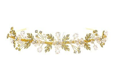 Gold Bridal Flower Leaf Rhinestone Crystal Wedding Headband Tiara 1174