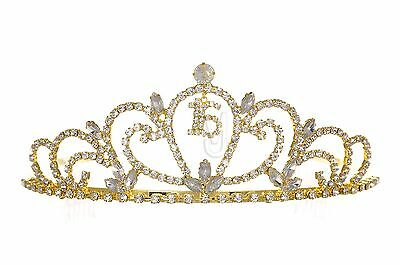 Gold Sweet 16 Birthday Party Princess Rhinestones Crystal Crown Tiara 1186