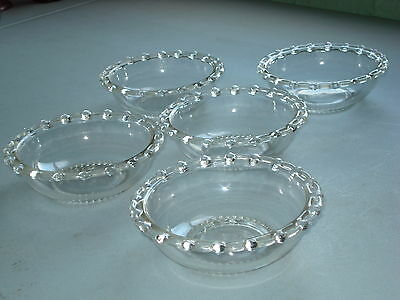 Set Of 5 Lace Edge Crystal Bowl