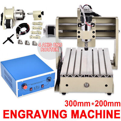 4 Axis 3020 Cnc Router Engraver Engraving Milling Machine Carving 3D Cutter 300W