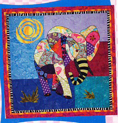 Ellie, fabulous elephant - fun and colourful applique wall quilt PATTERN