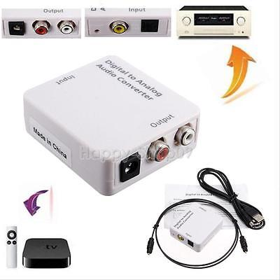 Digital Optical Coaxial Toslink to Analog L/R RCA Audio Converter Adapter+Cable