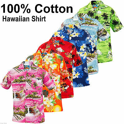 New Mens True Face Hawaiian Print Retro100% Cotton Shirt Beach Hula Holiday Top