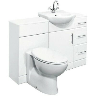 1300mm High Gloss White Bathroom Vanity Cabinet, Drawer Cupboard, BTW Toilet