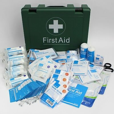BS Compliant Workplace First Aid Kit LARGE BS8599-1 Sturdy Green Box + Bracket