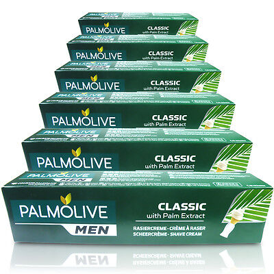 6x Palmolive Classic Shaving Lather Shave Cream 100ml With Palm Extract