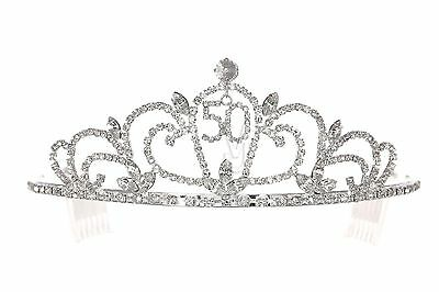 50th Birthday Party Rhinestone Crystal Crown Tiara 1169