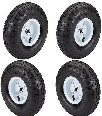 """New 4 Tire Set 10"""" Steel Air Pneumatic Hand Truck Dolly Wagon Industrial Wheel"""