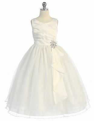 New Flower Girls Ivory Dress Party Pageant Wedding Bridesmaid Christmas Formal