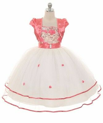 New Flower Girl Coral Dress Wedding Pageant Formal Party Birthday Bridesmaid