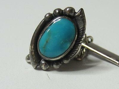 Vintage Sterling Silver Turquoise Bell Trading Post Tie Tack Pin