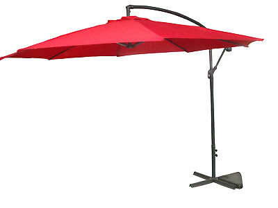 Palm Springs 10ft Offset Garden Umbrella Outdoor Patio Hanging Canopy - Red