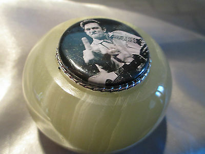 Johnny Cash Genuine Onyx Paperweight/ Gift Bag