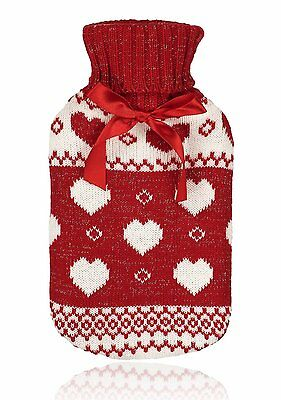 Red Fairisle Cable Knit Hot Water Bottle & Knitted Cover Perfect Christmas Gift