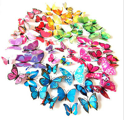12pcs 3D Butterfly Wall Art Decal Stickers Magnet Mural Home Decoration 4 colors
