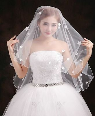 2016 New White/Ivory 2T small diamond flower Bridal Veil With comb * US SELLER *