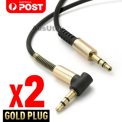 2x Aux Cable 3.5mm Male to Male Cord L-Shaped Right Angle Car Audio Headphone