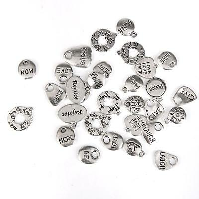 30pcs Mixed Tibetan Silver Pendants Charms Letter Beads DIY Jewelry Findings