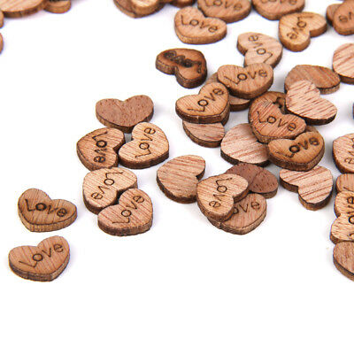 100 Rustic Wood mini chic Love Heart Wedding Table Scatter Decoration Crafts