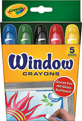 5PC Crayola Window Crayons Bright Bold Colours Washes off - Made in Korea