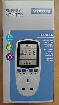 LCD 13 amp Energy Monitor Power Meter Plug-in KWH Watt Electricity Meter New