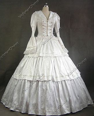 White Victorian Period Wedding Dress Bridal Gown Theater Reenactment Costume 188
