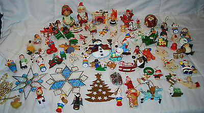 Huge Lot Of Vintage Christmas Ornaments Wooden Paper Mache Santa Stained Glass