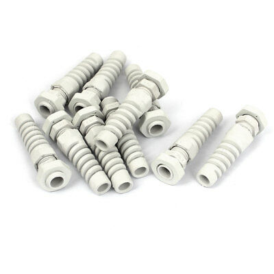 PG7 3-6.5mm Waterproof Cable Wire Fixing Glands Adapter Connector White 10pcs
