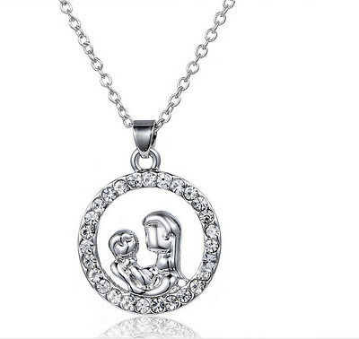 New Mom And Baby Charm Silver Crystal Pendant Necklace Love Mother's Day Gifts