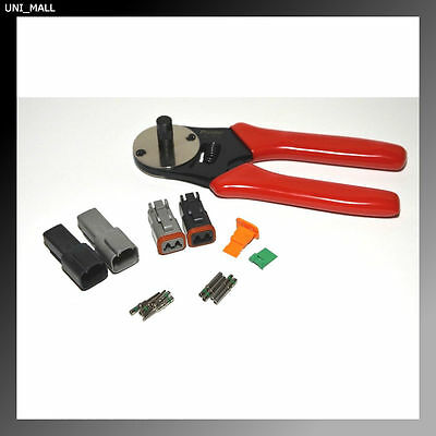 Deutsch DT Dual Color 2-Pin Connector 14-16AWG Solid contacts & Crimper Kit, USA
