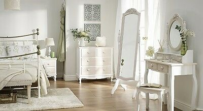 Shabby Chic Bedroom Furniture Soft White and Wood Drawers Dressing Table Mirror