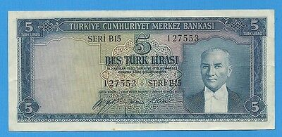 1930 ( 1952 ) Turkey 5 Lira P-154a AU Almost Uncirculated Turkish World Currency