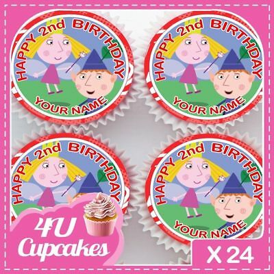 Ben And Holly Personalised Happy Birthday Cupcake Toppers Rice Paper Cct208