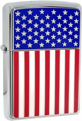 Zippo Windproof Lighter With Stars And Stripes Flag Emblem, 28827, New In Box