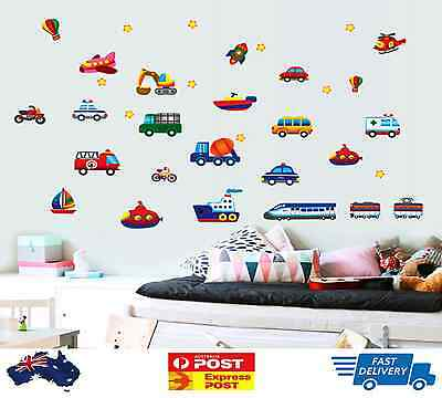 Car Truck Removable Wall Sticker Boy Decor Kids Airplane Boat Nursery Rocket