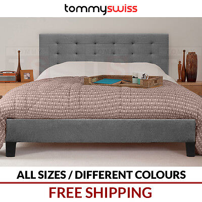 TOMMY SWISS: DELUXE KING QUEEN & DOUBLE Tufted Fabric Upholstered Bed Frame