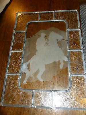 Horse and Rider Clear Glass Hanging Panel - Frosted/Etched
