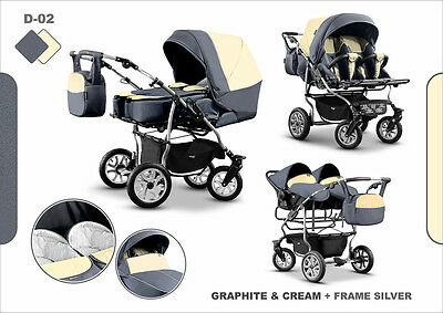 Pram Twin Child Stroller Double Pushchair -  20 Colors Swivel Wheels+2xCar Seat