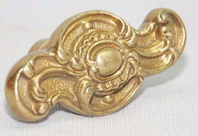 Antique Victorian Brass Curtain Tie Back Flower Scroll Cabochon Design Shape