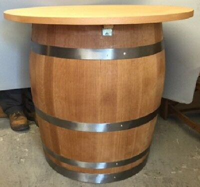 Recycled Solid Oak Whisky Barrel Wooden Vintage Round Pub Table Storage