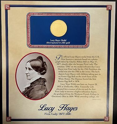 """(2011) Lucy Hayes """"First Spouse"""" bronze medal, 24 kt gold electroplated!"""