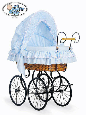 My Sweet Baby - XXL Retro Wicker Crib Moses Basket - Victoria - Blue