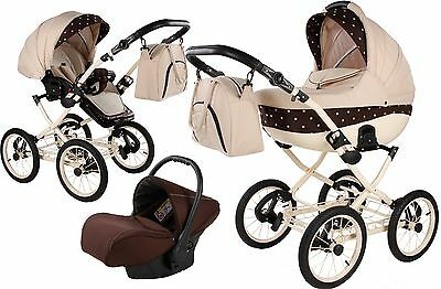 3in1 CLEO II LEATHER PRAM FOR BABY PUSHCHAIR + CAR SEAT + FREE ACCESSORIES