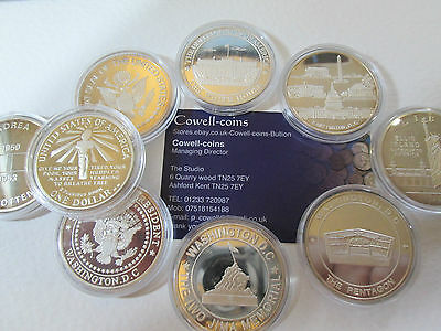 USA 1 oz SILVER PROOF $1 COINS & MEDALS VARIOUS DATES 1986 ELLIS ISLAND IWO JIMA