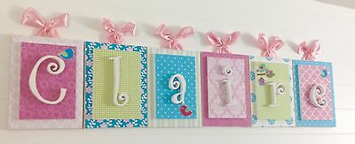 Pink and Aqua Nursery Decor, Pink Wall Letters, Wooden Nursery Letters 6x8