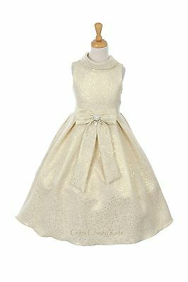 New Flower Girls Gold Dress Wedding Party Pageant Formal Fancy Christmas